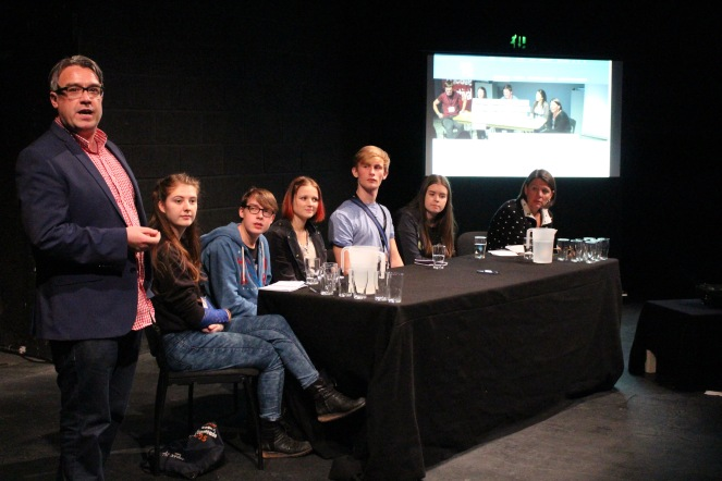 Alan King introduces the Young Critics 206 with panelists Meabh, Jack, Ciara, Colm and Emily. Chaired by Dr. Karen Fricker. Photo Credit: Rhona Dunnett