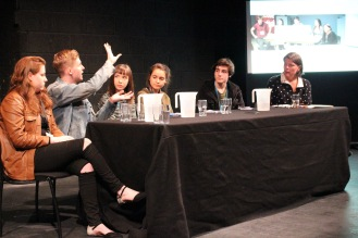 Panelists Louis, Kate, Savana & Matthew Chaired by Dr. Karen Fricker. Photo Credit: Rhona Dunnett